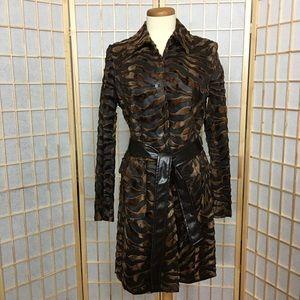 Via Spiga Tiger Print Brown & Black Long Coat Sz M